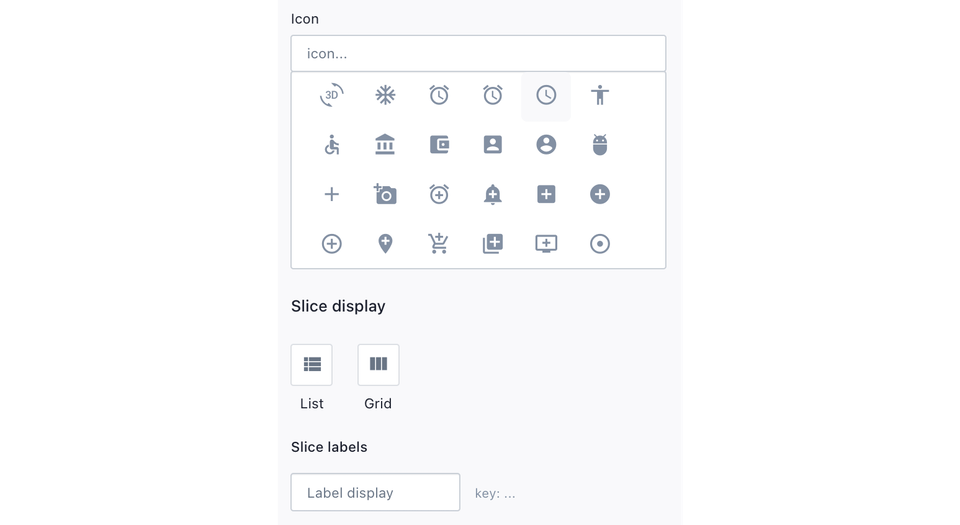 Screenshot of the Slices editor.