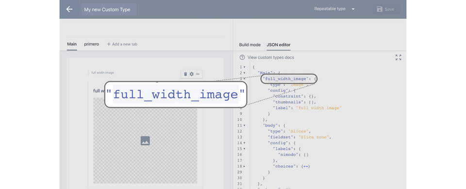Screenshot that shows where a Slice name is found in the JSON editor