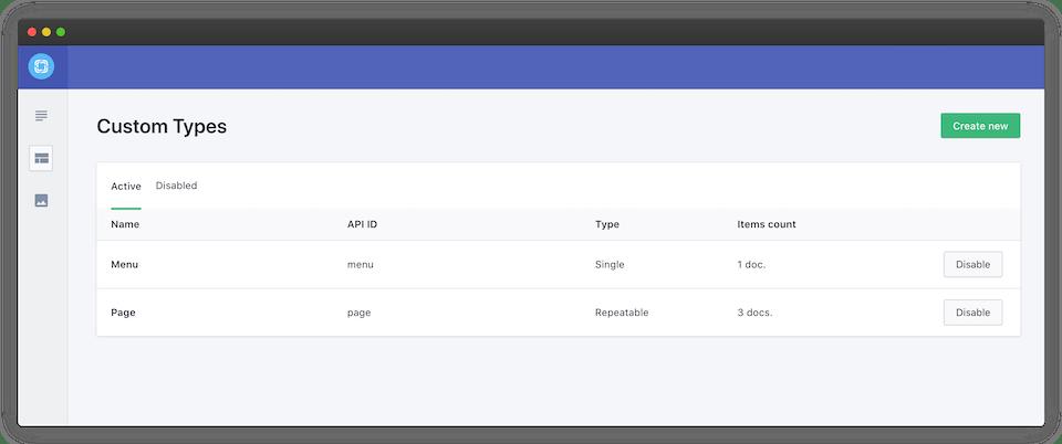 The active Custom Type list in the Prismic UI
