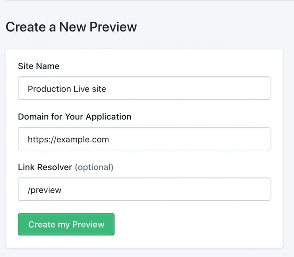 Interface for creating a new preview