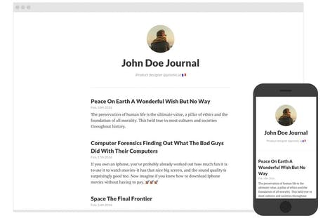 Screenshot of the example blog project