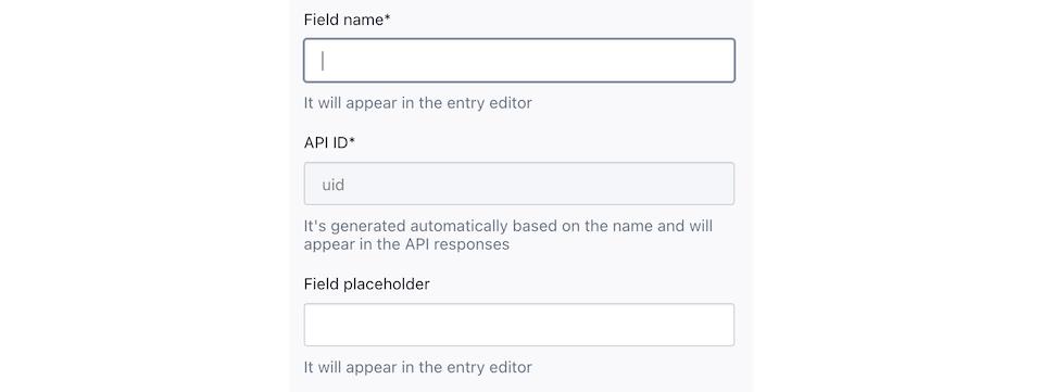 Screenshot of the UID editor in the Custom Type Builder.