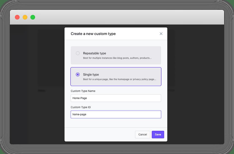 The 'Create a new custom type' screen