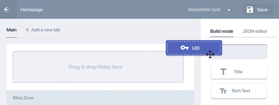 Screenshot of a field in the drag-and-drop editor.