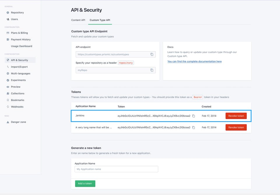 The API & Security section of a Prismic repository