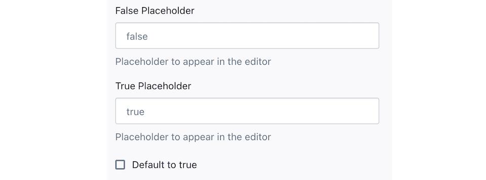 Screenshot of the Boolean field editor.