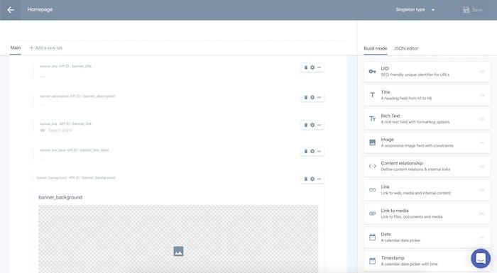The homepage Custom Type