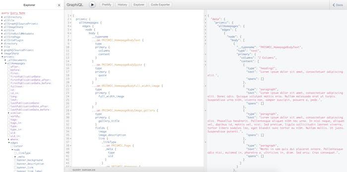 GraphQL query results