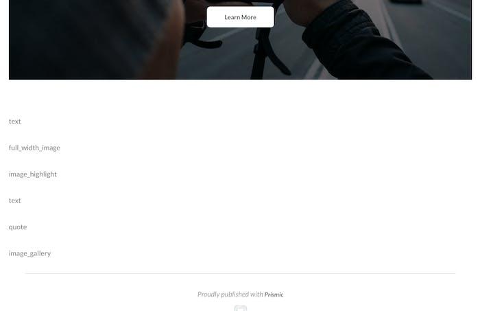 Homepage slice types list