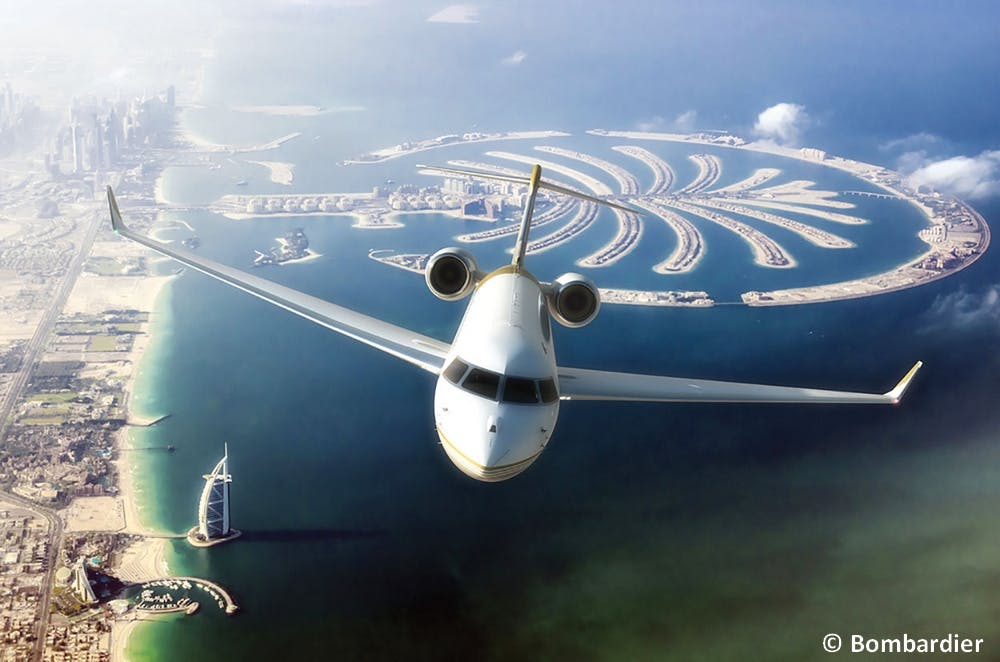 Global 7000 flying over Dubai. Images: Bombardier