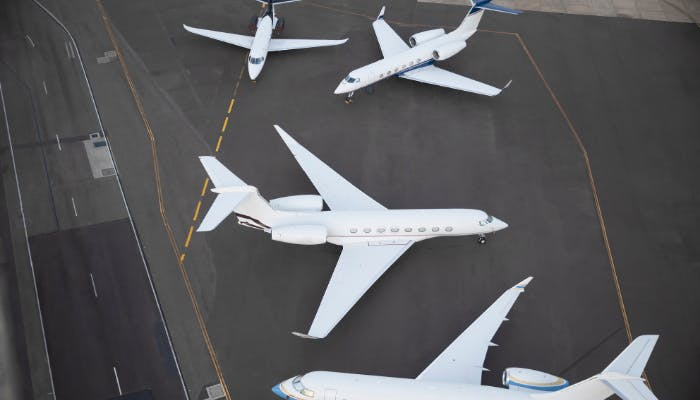 Different size jets on tarmac