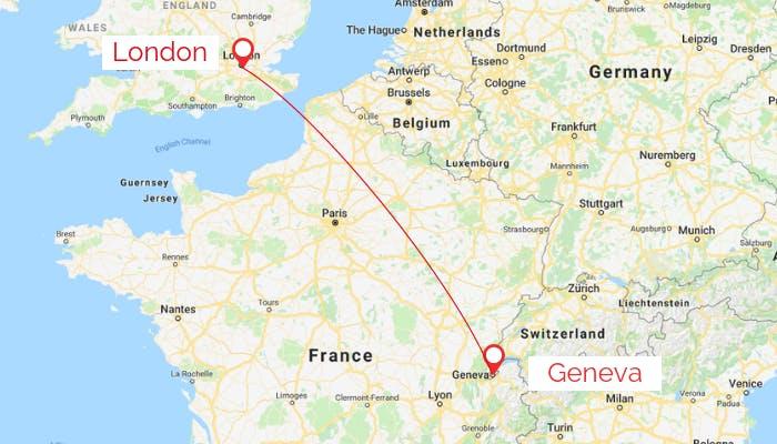 London Geneva map