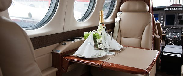 Beechcraft King Air 350 private jet interior