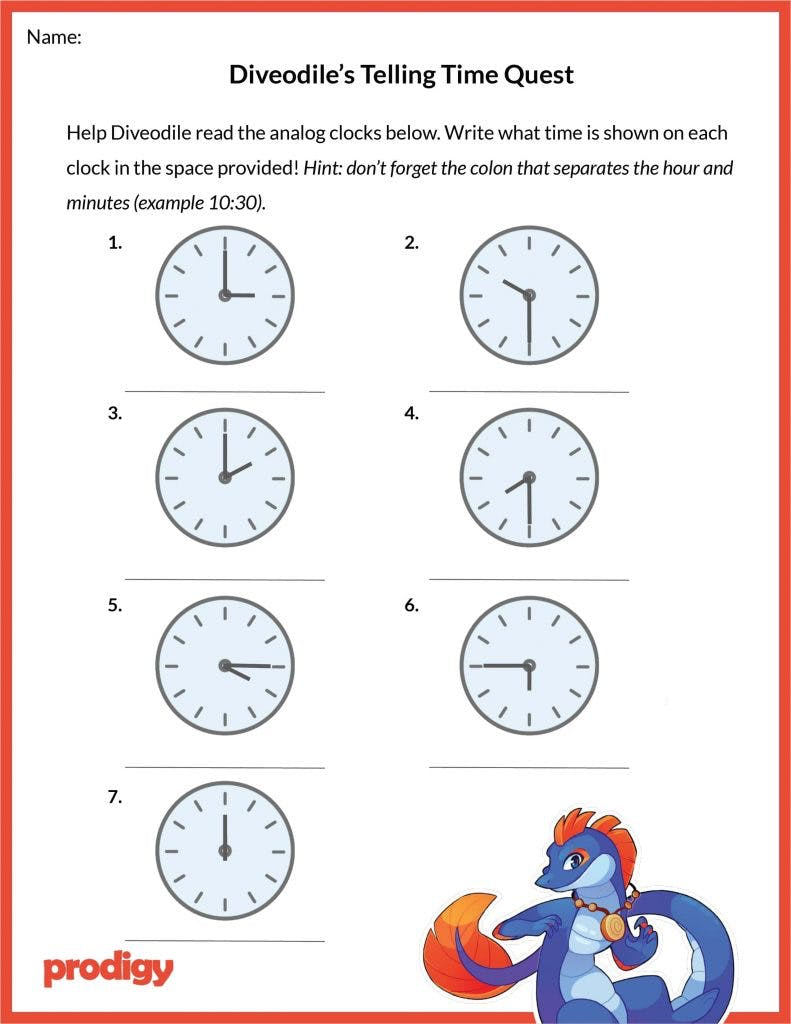 Telling Time Worksheets 20 Effective Practice Materials Prodigy Education