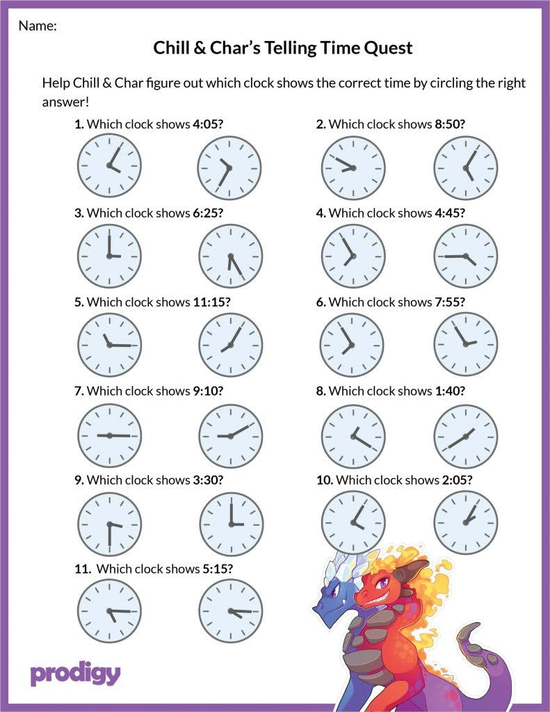 Telling time worksheets 20 effective practice materials   Prodigy ...
