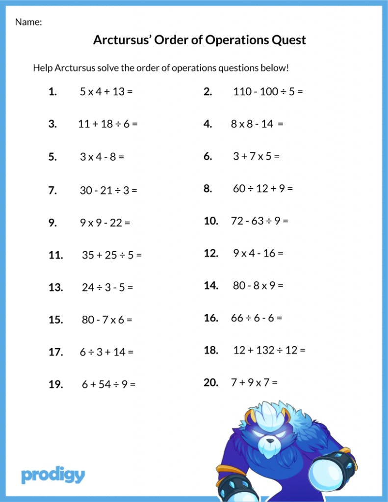Order Of Operations Worksheet 19 Resources For Your Class Prodigy Education