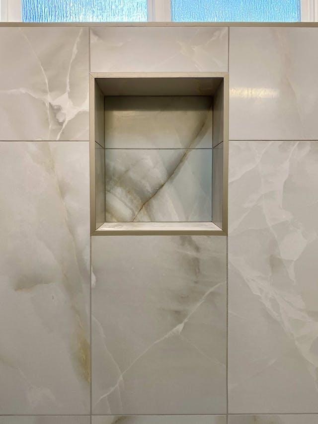 Tiled shower shelf