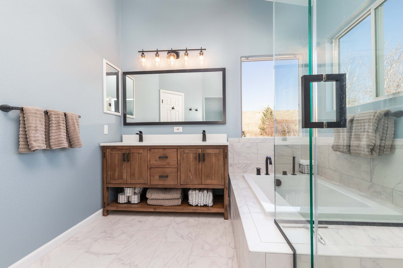 Golden master bathroom remodel