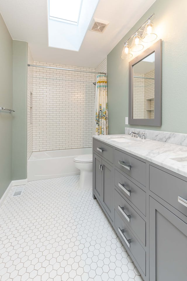 Golden guest bathroom remodel