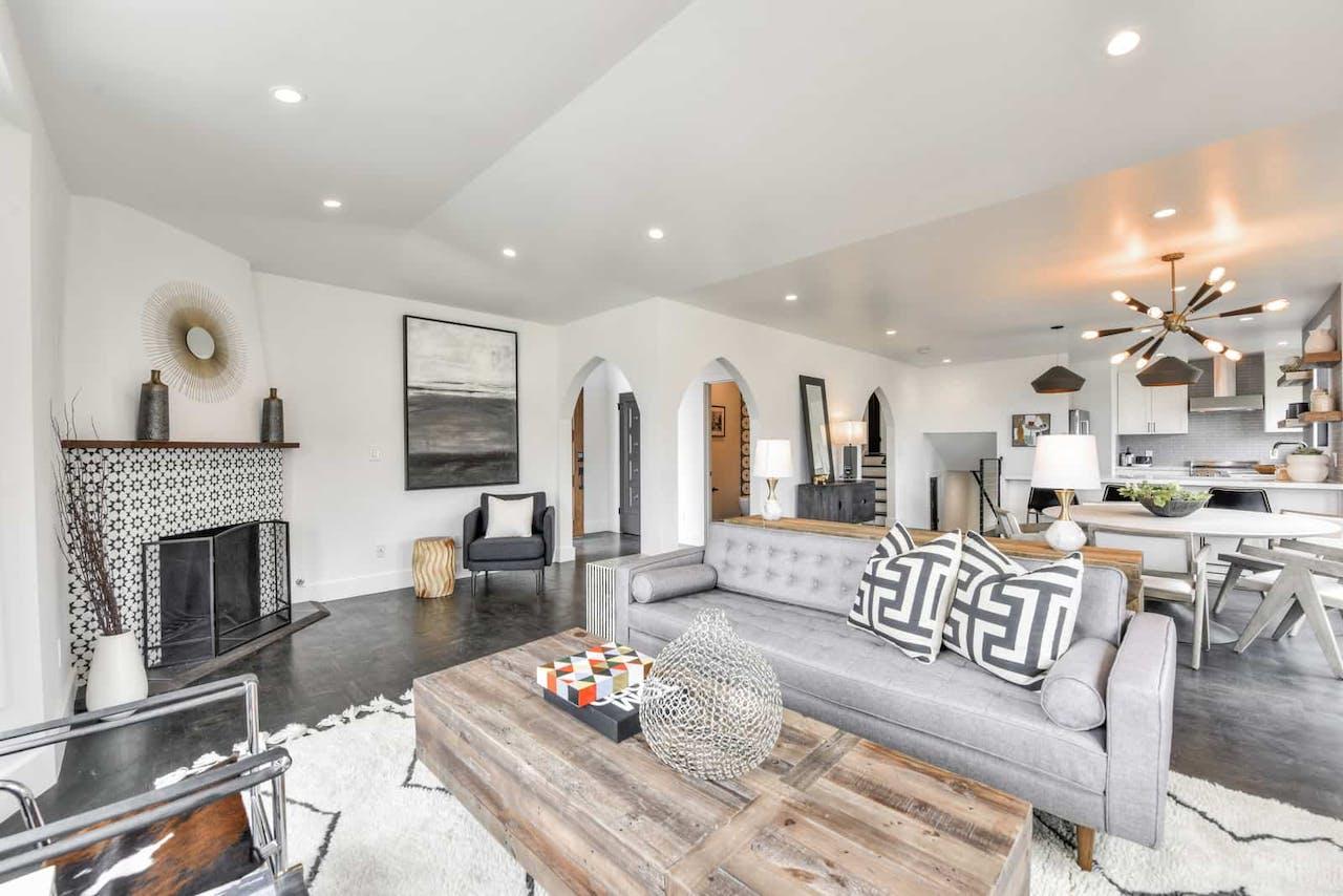 Sunnyside home remodel living room fireplace