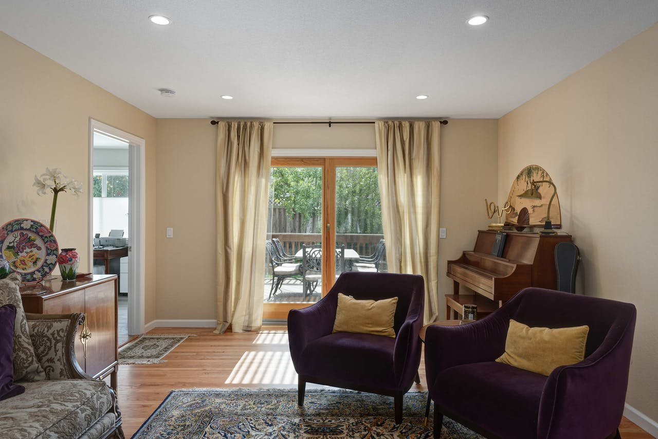 Mountain View living room french doors