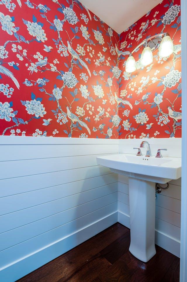 Seattle addition - powder room wallpaper