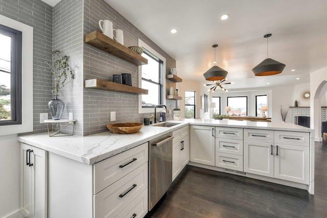 Sunnyside home remodel kitchen shelves