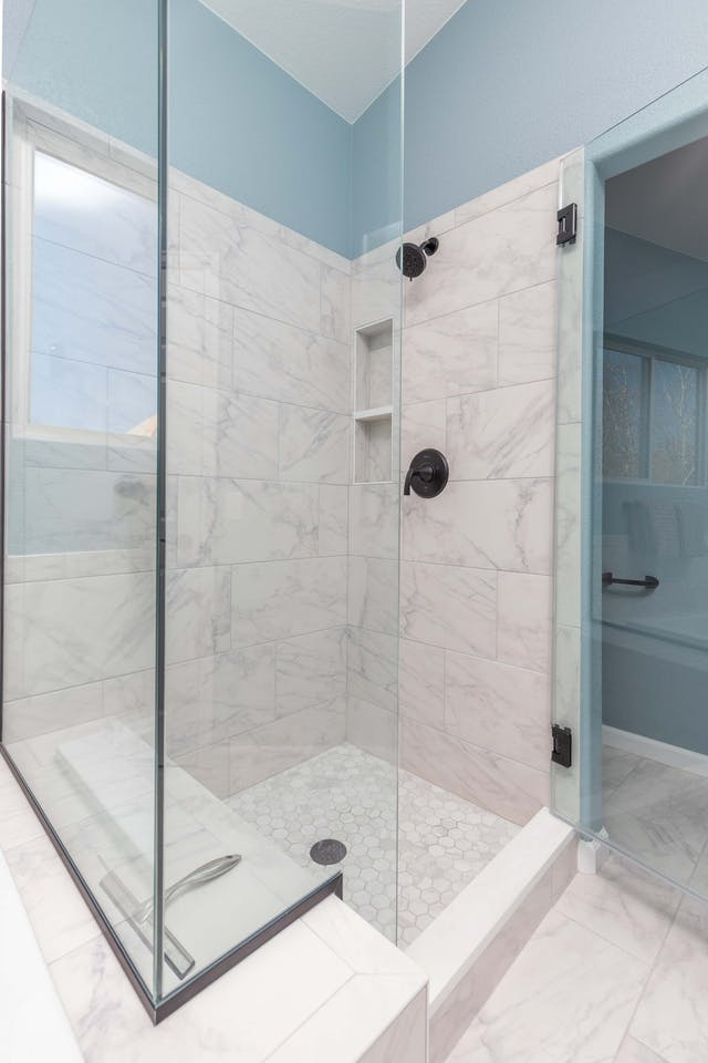 Golden master bathroom shower