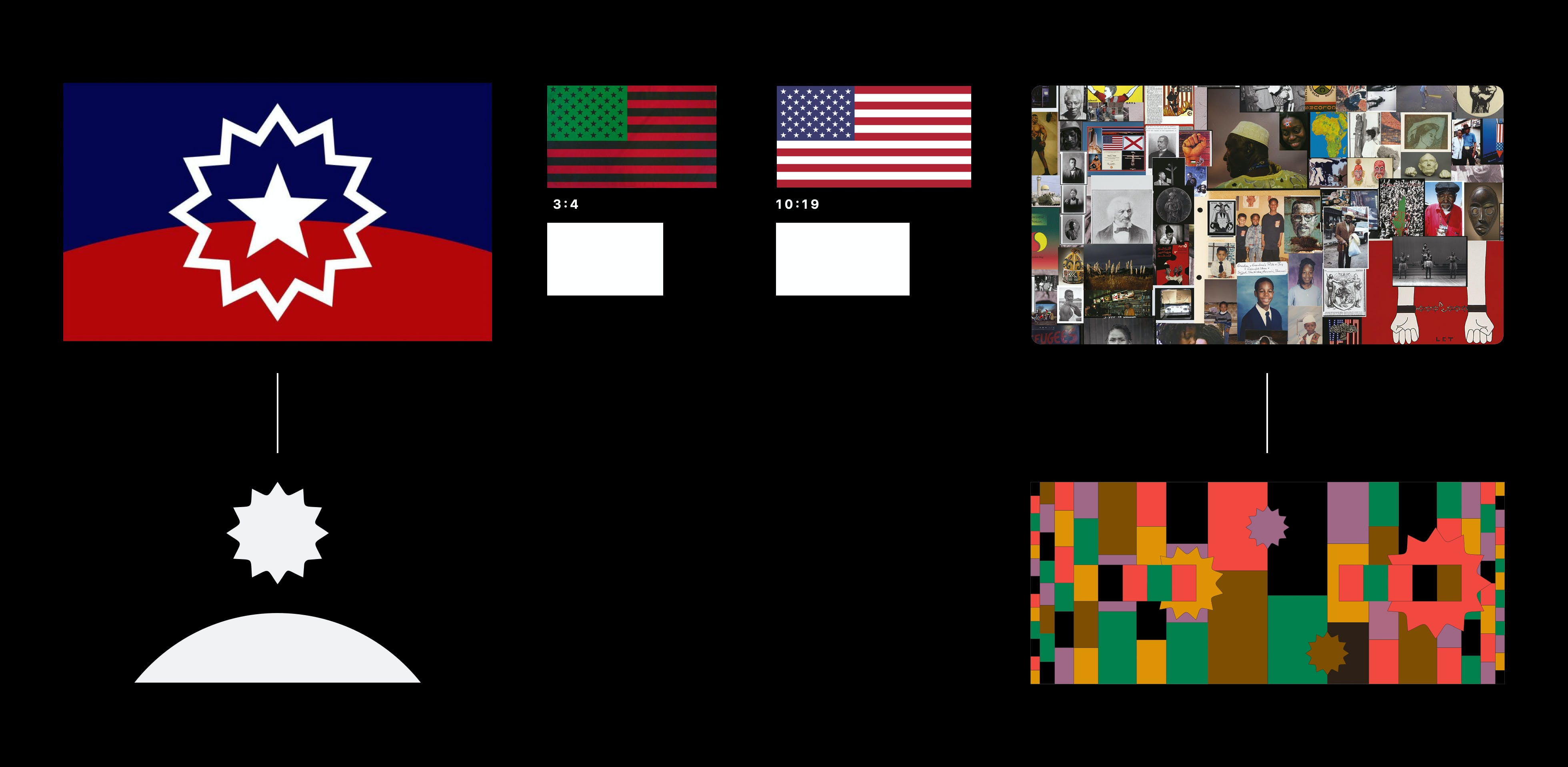 Image of the Juneteenth flag (star & horizon shape) elements deconstructed into graphics. Along with the ratios of the Black American flag and American National Flag used as tiles.