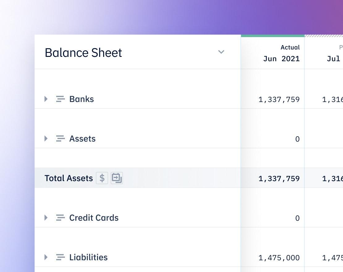 Pry bookkeeping showing balance sheet
