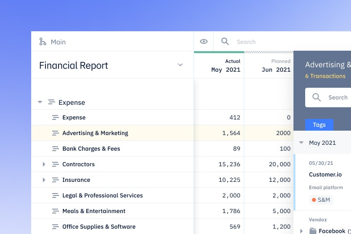 Pry bookkeeping showing financial report with transactions