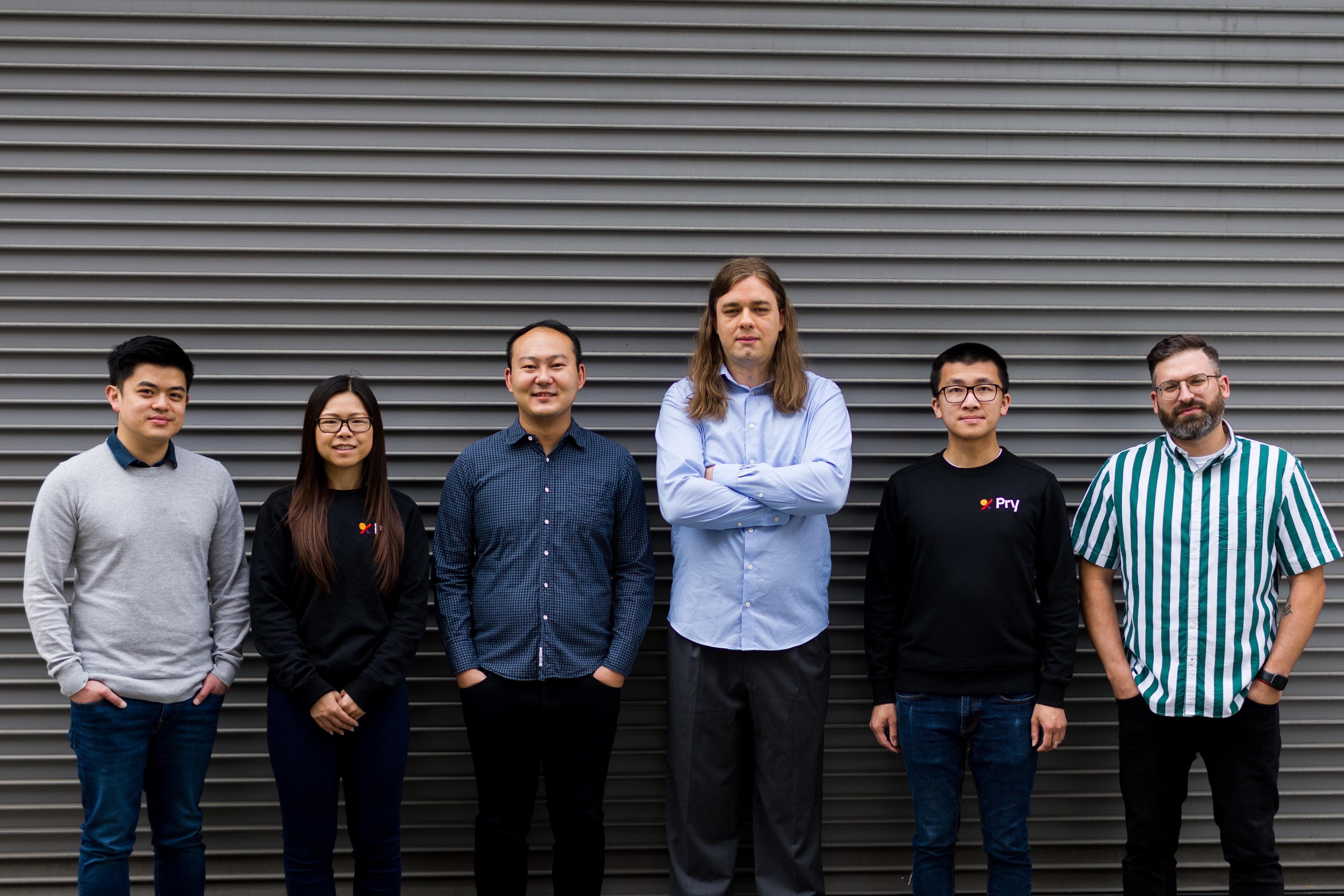 Pry's early team. Wilson Jian, Tiffany Wong, Andy Su, Hayden Jensen, Hansen Yee, Alex Sailer.