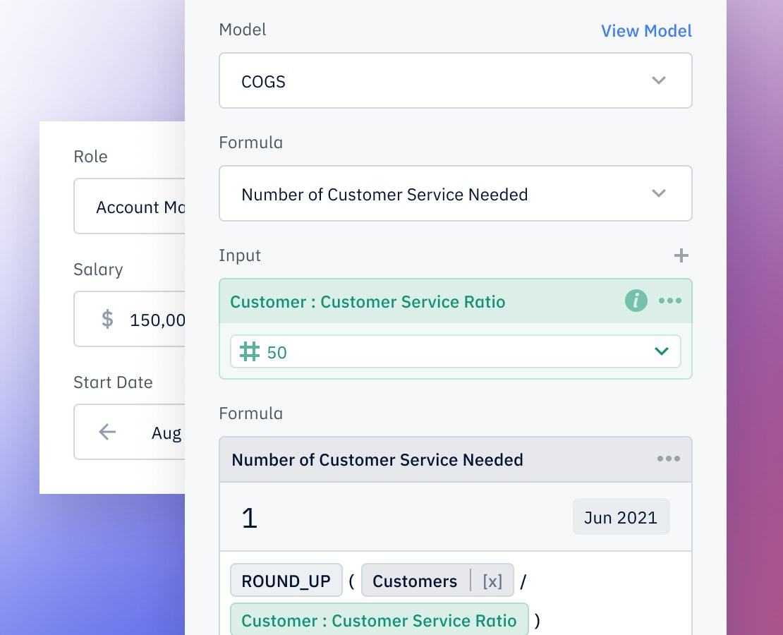 Pry hiring plan showing formulas to plan for new hires based on revenue or customer goals