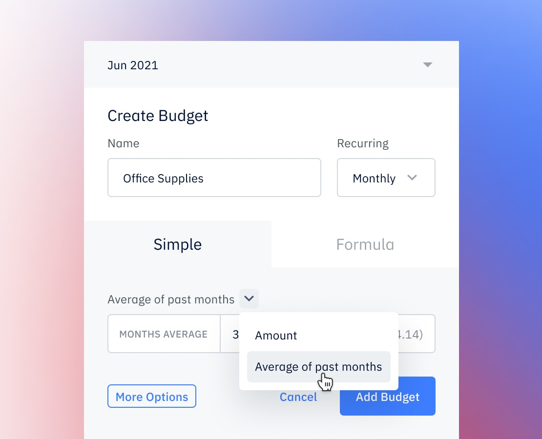Pry simple budget showing create average budget entry