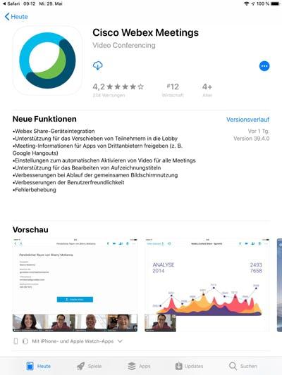 App Store Webex Meetings