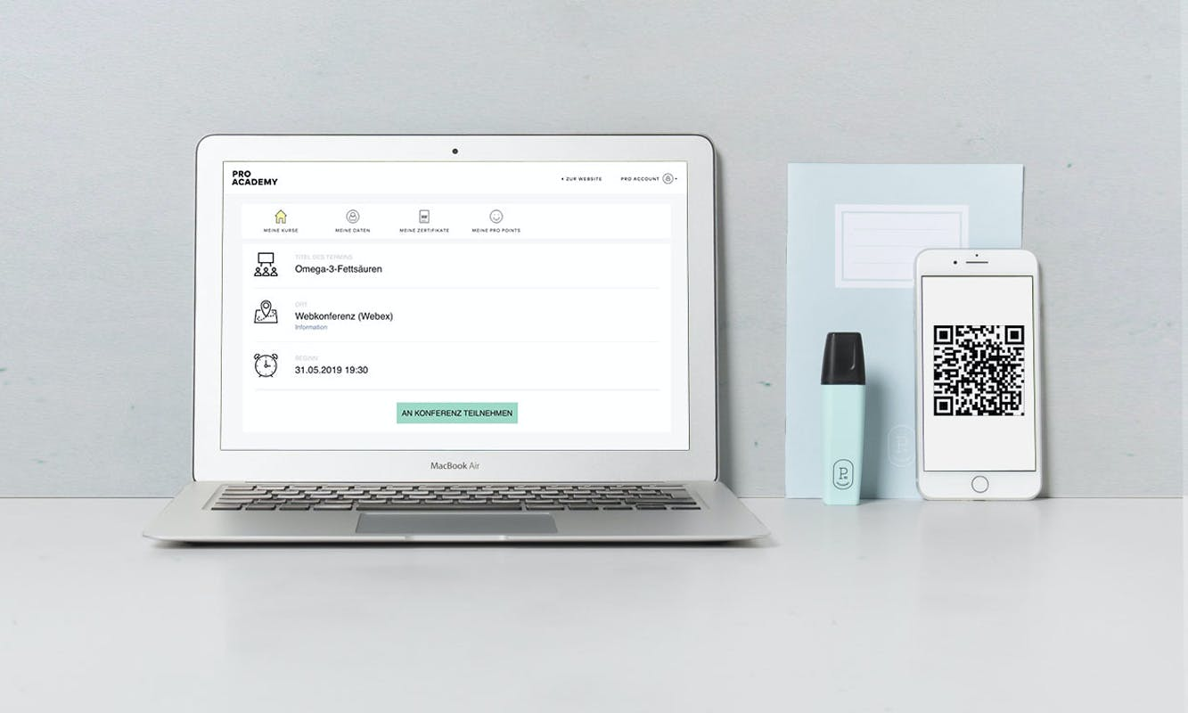 Laptop zur Webinar-Anmeldung