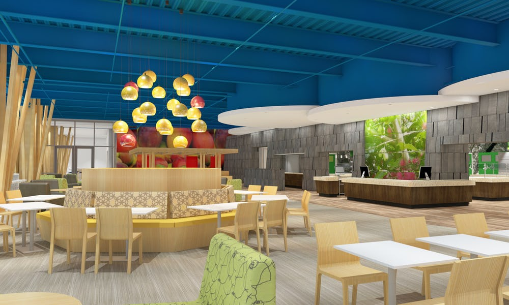 Rendering of dining area.