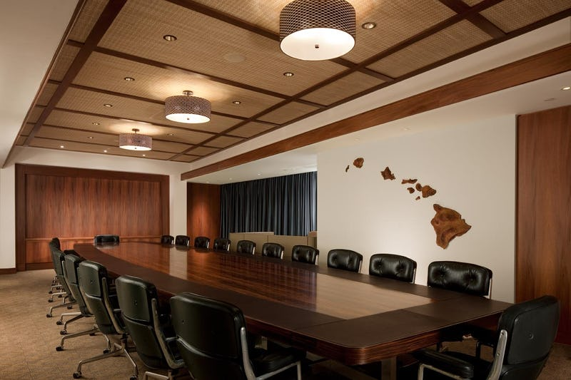 Executive board room at Bank of Hawaii with large table and surrounding office chairs