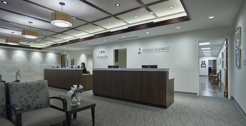 Reception desk at Hawaii Eye Institute & Hawaii Allergy Institute