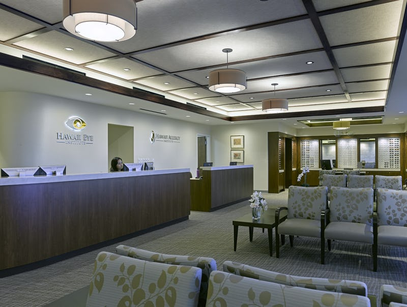 Reception desk and waiting area at Hawaii Eye Institute & Hawaii Allergy Institute