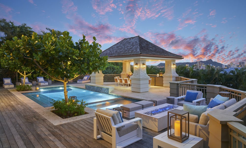 Pool area during sunset.