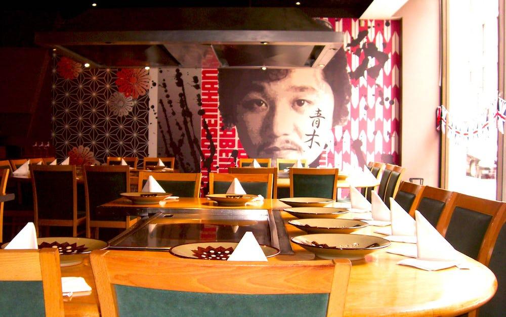 Table settings at Benihana Restaurant at Piccadilly, London