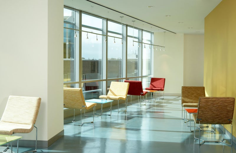 Sunlit seating areas.