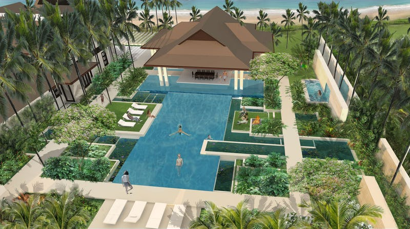 Rendering of pool and lounging areas