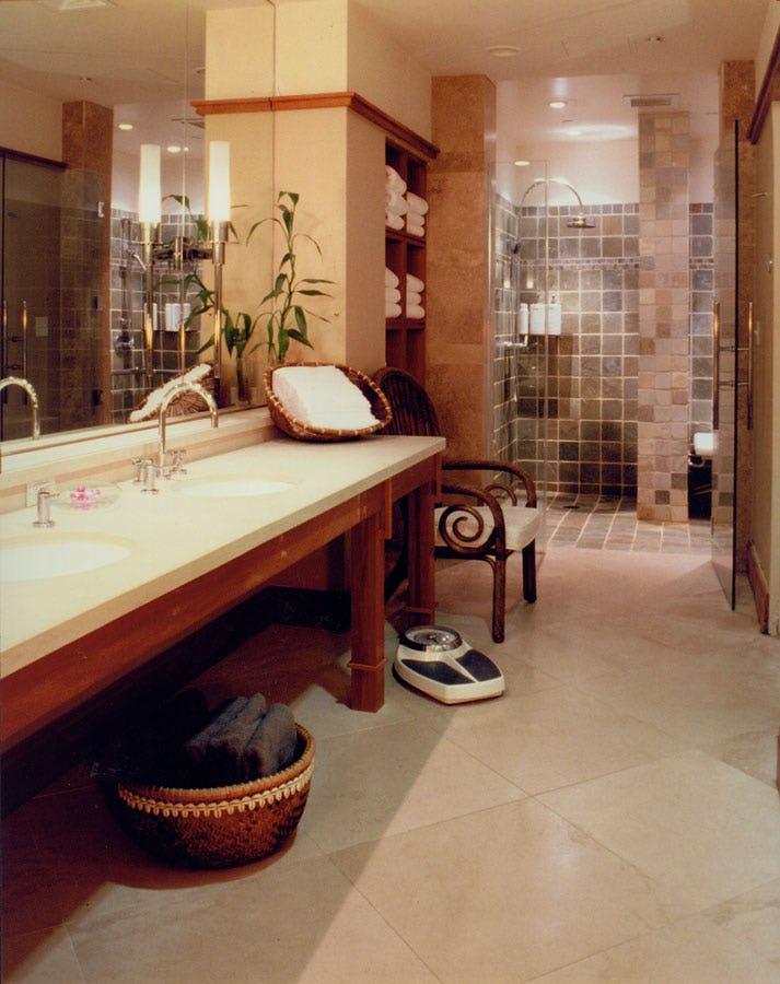 Shower and sinks at Abhasa Spa at the Royal Hawaiian Hotel