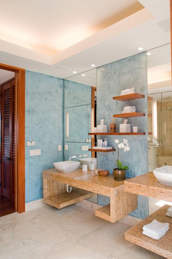 Bathroom sinks with open bathroom storage