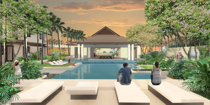 Rendering of pools and lounging areas