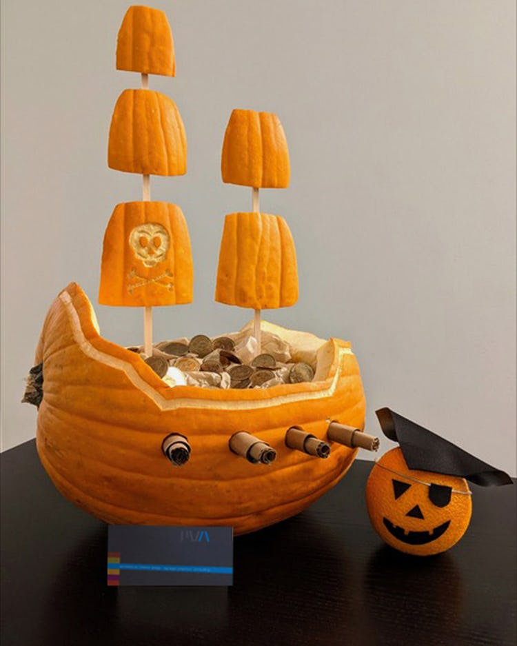 Pirate ship made out of a pumpkin