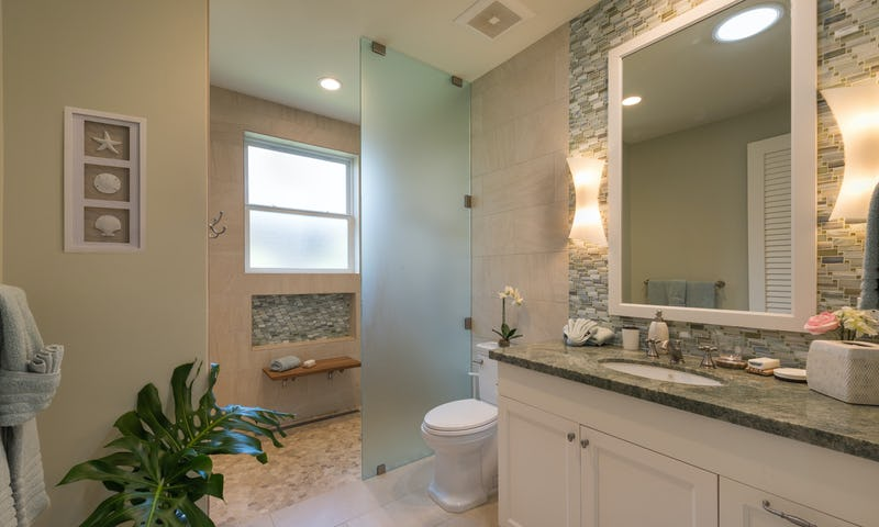Bathroom with glass divider