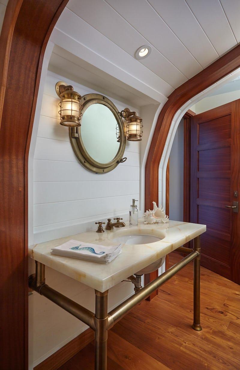 Bathroom sink with nautical theme